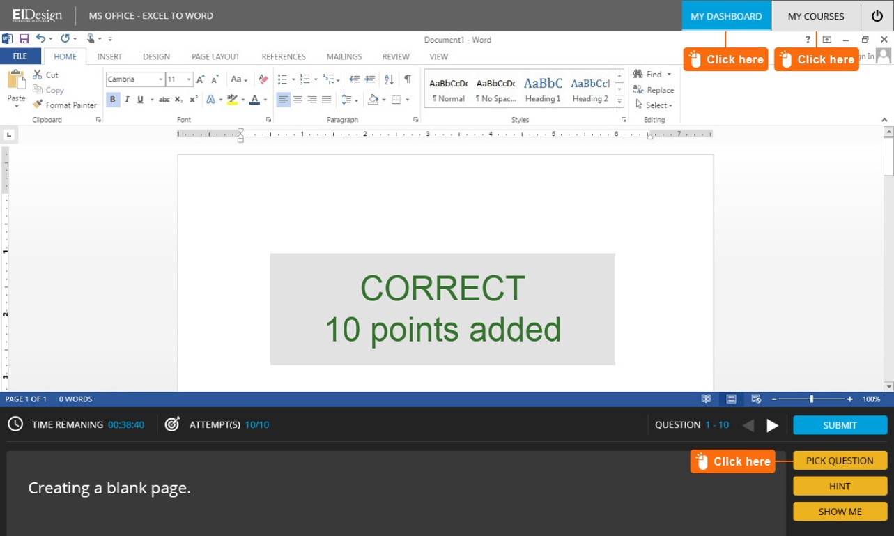 Application simulation of Microsoft Word with Gamification