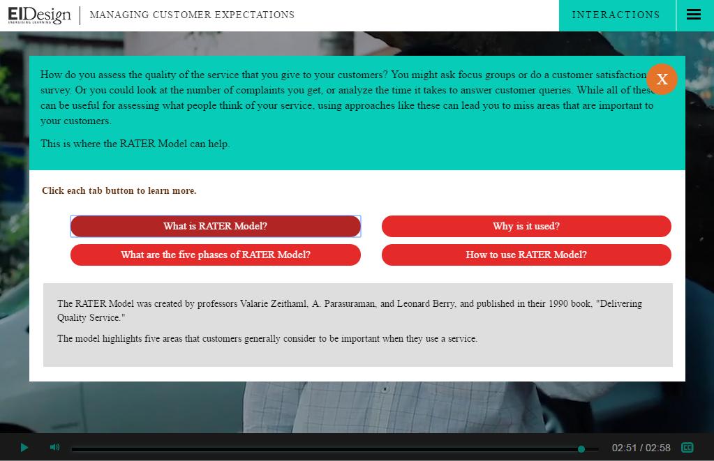 EI Design Interactive video Button Click