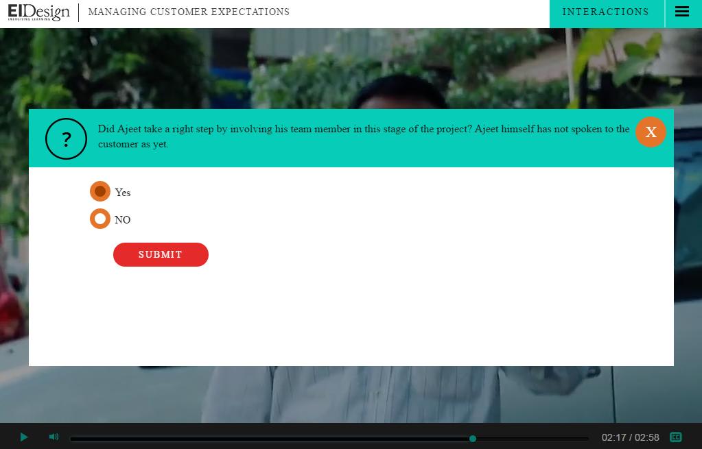 EI Design Interactive video single choice question