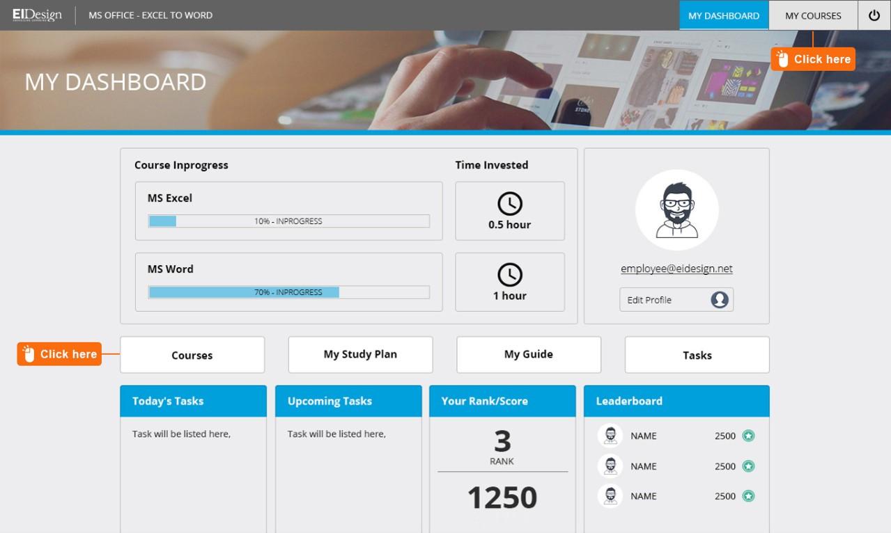 Application simulation and Gamification Dashboard