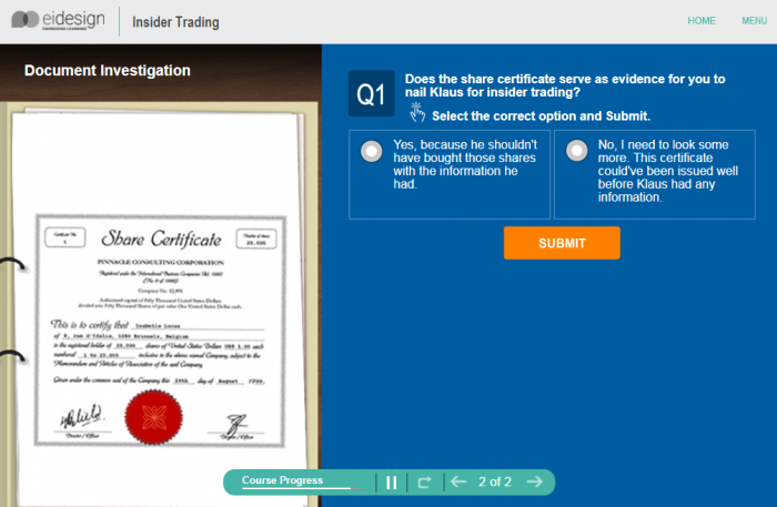Online Compliance Training - Insider Trading Level 3 - 3
